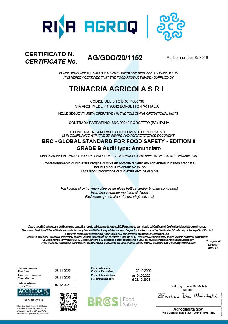 Certificazione BRC Food - Azienda - Frantoi Saalga