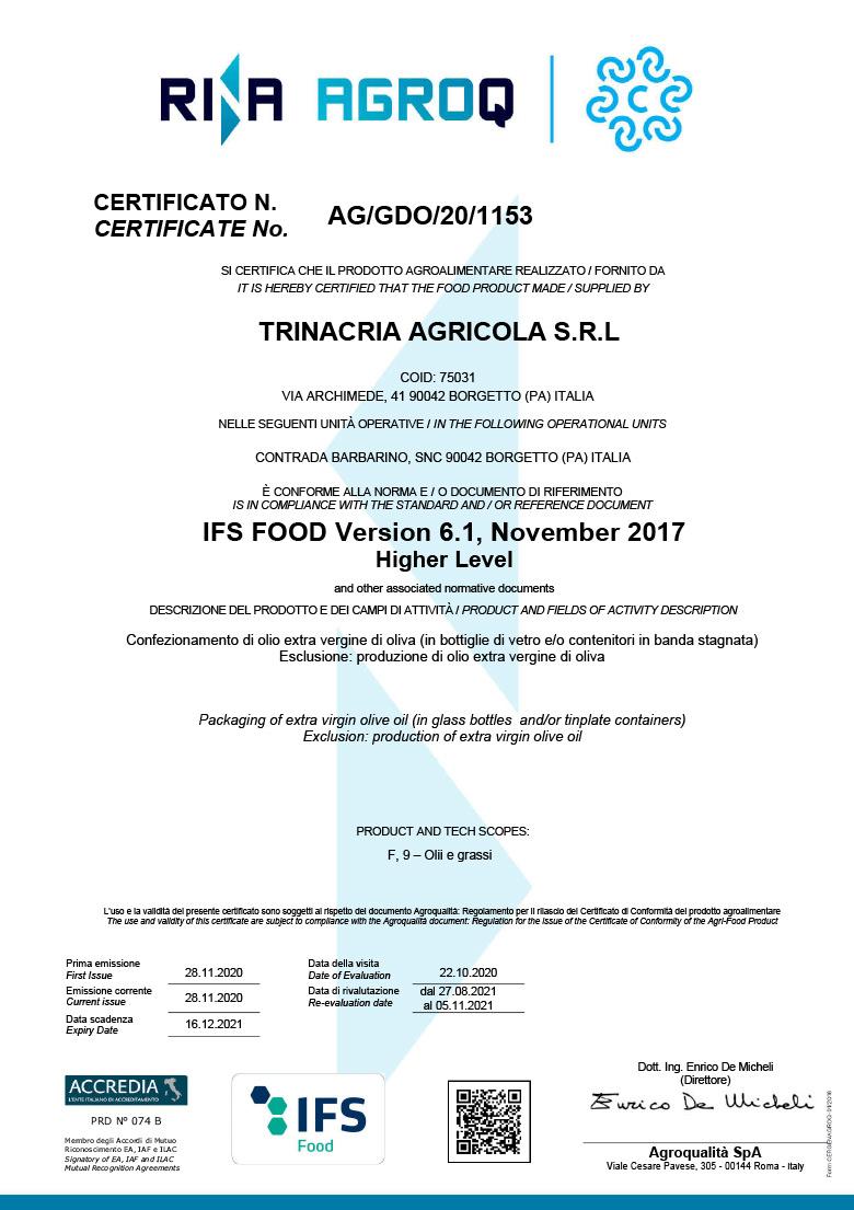 Certificazione IFS Food – Azienda – Frantoi Saalga